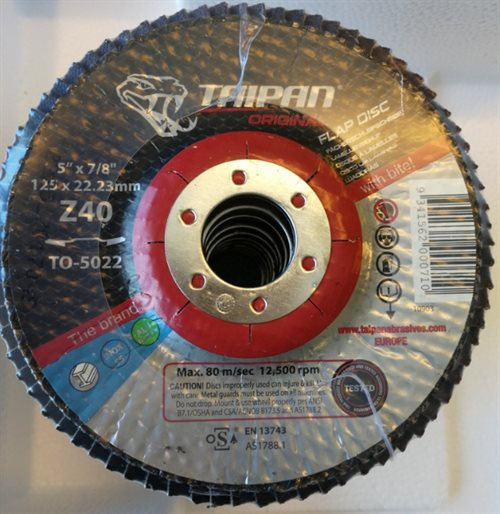 TO-5022 - Taipan Original Ceramic Flap Disc Ø125 Grit 40 Zirconium - max. 12250 RPM