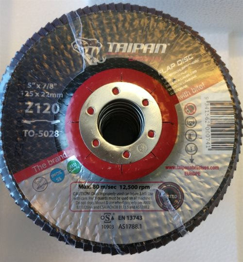 TO-5028 - Taipan Original Ceramic Flap Disc Ø125 Grit 120 Zirconium - max. 12250 RPM